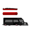 hearse and coffin cartoon style funeral car vector image vector image