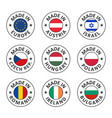 icon set made in austria poland israel vector image