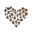 leopard print skin in the shape of a heart vector image vector image