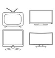 line art black and white modern tv set vector image
