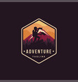 man on peak nature outdoor adventure logo vector image
