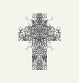 monochrome design cross with abstract curlicues vector image vector image