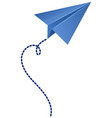 origami airplane in blue color vector image vector image