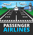 runway with landing plane aircraft vector image