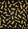 seamless pattern with golden chess pieces vector image vector image