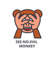 see no evil emoji line icon sign vector image vector image