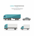 set blue cargo delivery truck vector image