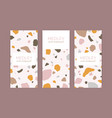 set card templates with terrazzo pattern vector image