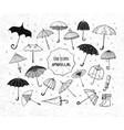 set doodle sketch umbrellas on rice paper vector image vector image