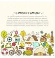 set hand drawn camping equipment symbols vector image