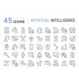 set line icons artificial intelligence vector image vector image