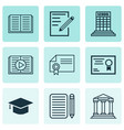 set of 9 education icons includes diploma vector image vector image