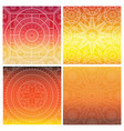 set of indian mandala on orange gradient vector image
