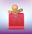 shopping bag with cookie man for winter sales vector image