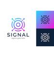 signal logo modern satellite eye communication vector image vector image