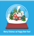 snow globe with gingerbread house and snowflakes vector image vector image