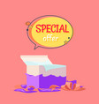 special offer poster with open gift box wrapping vector image vector image