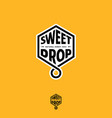 sweet drop emblem honeycomb natural honey logo vector image