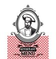 template for a restaurant menu with the chef and vector image
