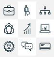 trade icons line style set with manager vector image