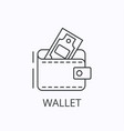 wallet thin line icon in flat style on black vector image vector image
