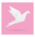 white bird paper craft flying in frame art vector image