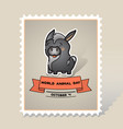 world animal day card with a cute donkey vector image