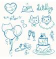 set of cat wedding elements outlines vector image