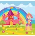 Cartoon princess and fairytale castle with vector image
