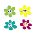 flower paper stickers with shadows on white vector image