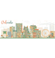 Abstract Orlando Skyline with Color Buildings vector image vector image