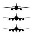 airplane set in black color vector image vector image