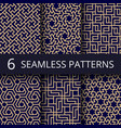 arabic culture seamless patterns gold vector image vector image