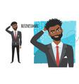 black african american businessman is pensive vector image vector image