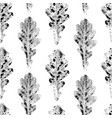 black white seamless pattern of printed oak leaves vector image vector image