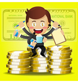 businessman with many arms and stack of big coins vector image