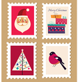 Christmas and New Year post stamps vector image vector image