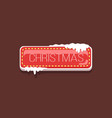 christmas web button covered with snow icon vector image vector image