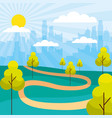 cityscape buildings park trees path vector image vector image