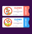 Clown show tickets set circus cards templates