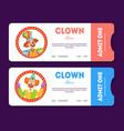 clown show tickets set circus cards templates vector image
