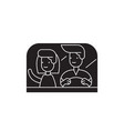 couple driving away black concept icon vector image