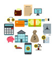 credit icons set flat style vector image vector image