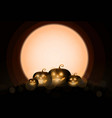 dark cute halloween pumpkins and big moon vector image