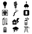 Electricity Power Black Icons Set vector image