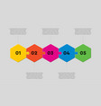 five puzzle jigsaw hexagon line info graphic vector image