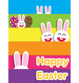 Funny Happy Easter card with bunnies vector image