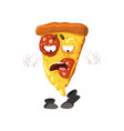 funny slice of pizza cartoon fast food character vector image