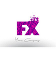 fx f x dots letter logo with purple bubbles vector image vector image