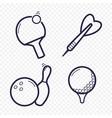 games linear icons ping-pong golf bowling darts vector image vector image